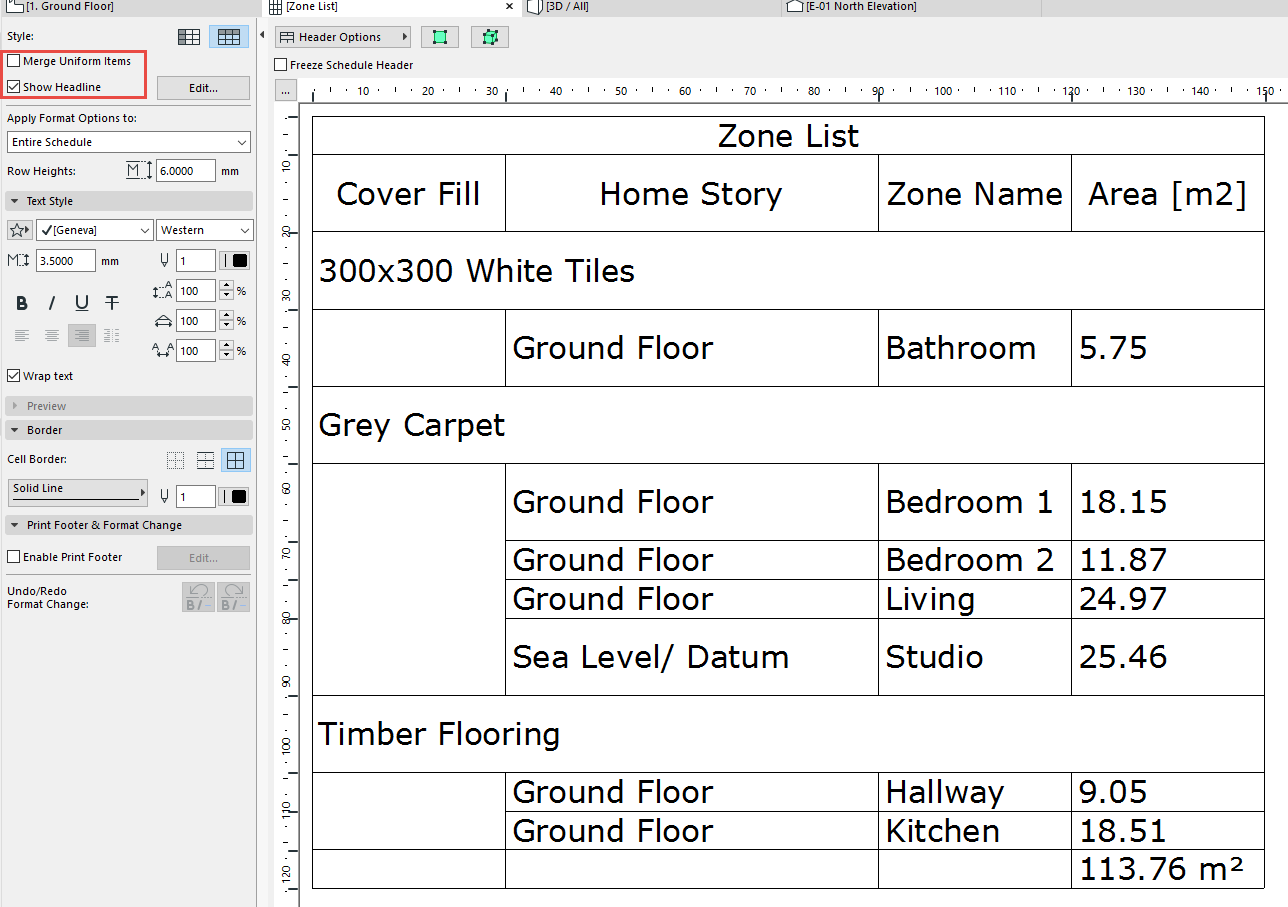 create a floor finishes schedule