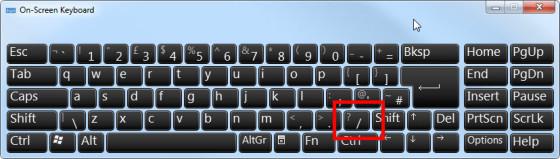 keyboard slash highlight