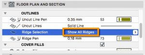 Turn on and off the ridges in plan view for mesh